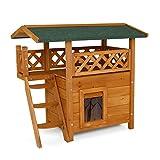 dibea Casa para gatos caseta de madera para gatos con terraza 77x50x73 cm Marrn