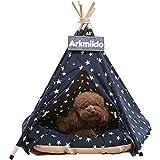 Arkmiido Tienda para Mascotas con Cama, Casa de Lona para Perros y Gatos, Tipi para...